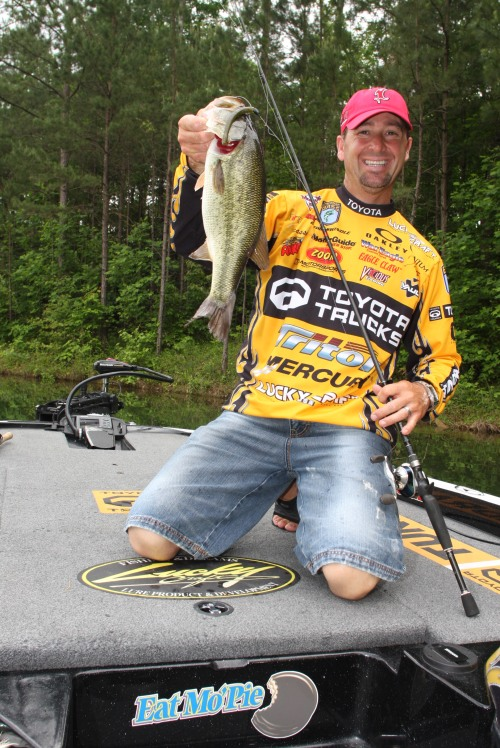 Gerald Swindle with the new Zoom MagFinesse worm, a hefty worm great for Texas-rigging